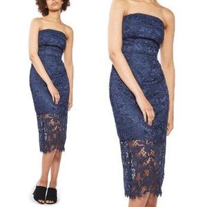 TopShop Midnight Navy Lace Strapless Midi Dress